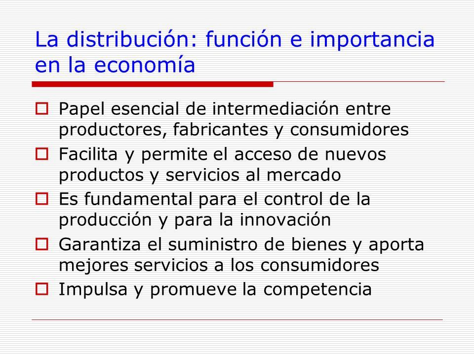 La distribución: función e importancia en la economía Papel esencial de intermediación entre productores, fabricantes y consumidores Facilita y permit