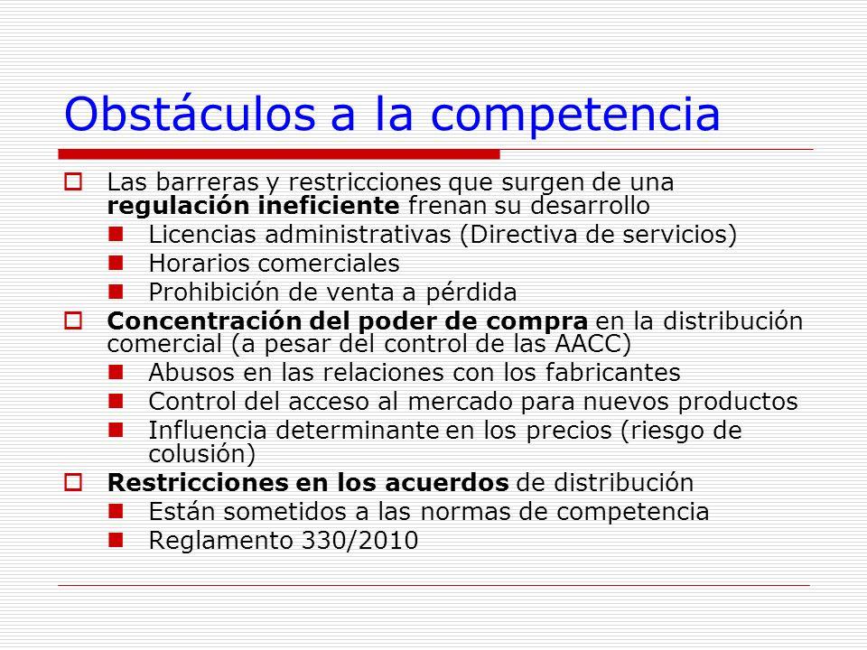 Obstáculos a la competencia Las barreras y restricciones que surgen de una regulación ineficiente frenan su desarrollo Licencias administrativas (Dire