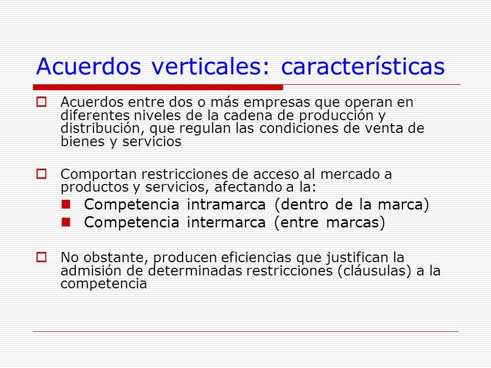 Acuerdos verticales: características Acuerdos entre dos o más empresas que operan en diferentes niveles de la cadena de producción y distribución, que