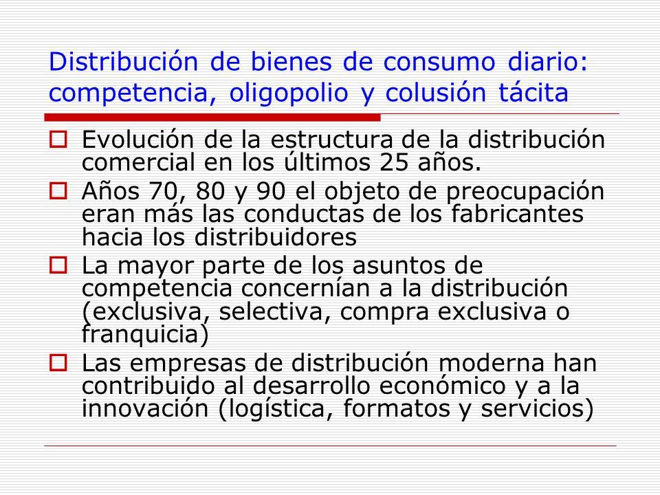 Distribución de bienes de consumo diario: competencia, oligopolio y colusión tácita Evolución de la estructura de la distribución comercial en los últ