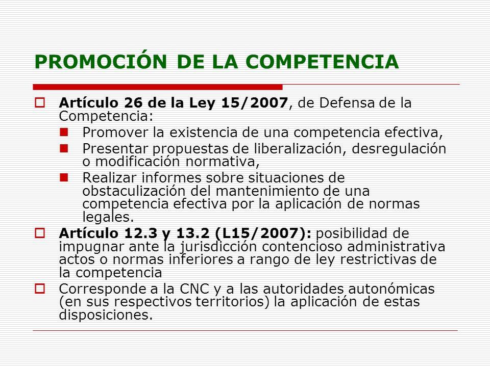 PROMOCIÓN DE LA COMPETENCIA Artículo 26 de la Ley 15/2007, de Defensa de la Competencia: Promover la existencia de una competencia efectiva, Presentar