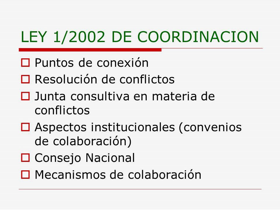 LEY 1/2002 DE COORDINACION Puntos de conexión Resolución de conflictos Junta consultiva en materia de conflictos Aspectos institucionales (convenios d