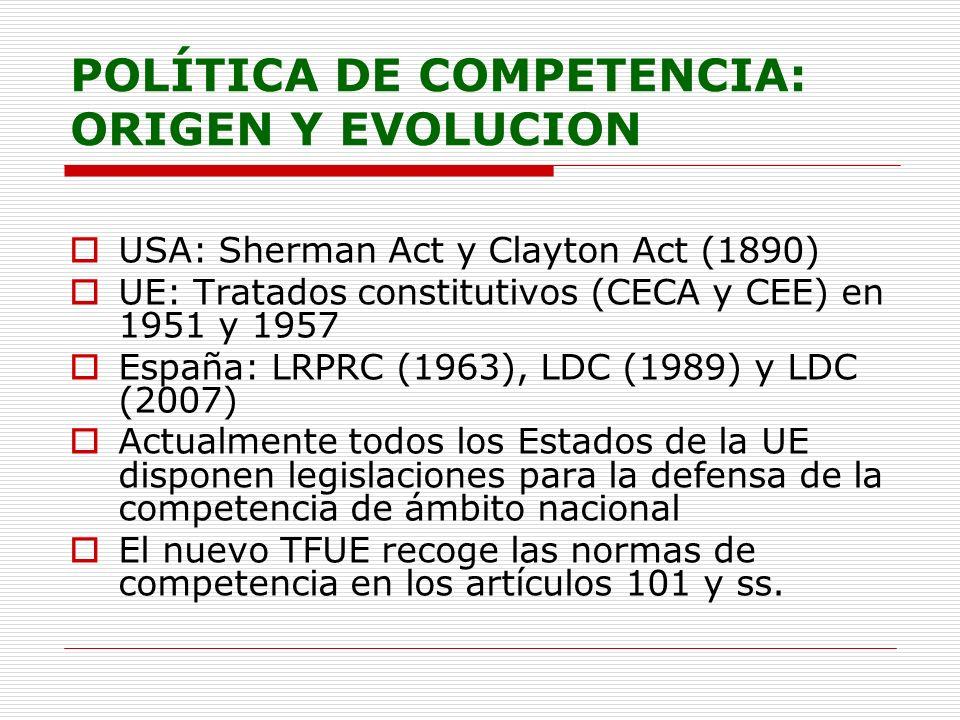 POLÍTICA DE COMPETENCIA: ORIGEN Y EVOLUCION USA: Sherman Act y Clayton Act (1890) UE: Tratados constitutivos (CECA y CEE) en 1951 y 1957 España: LRPRC
