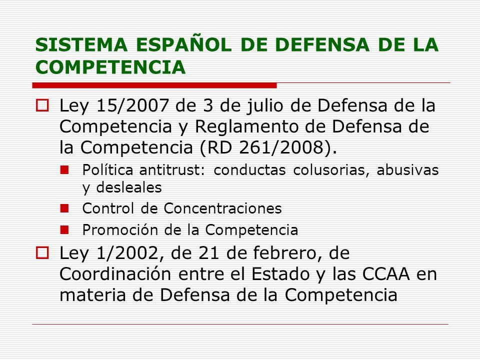 SISTEMA ESPAÑOL DE DEFENSA DE LA COMPETENCIA Ley 15/2007 de 3 de julio de Defensa de la Competencia y Reglamento de Defensa de la Competencia (RD 261/2008).
