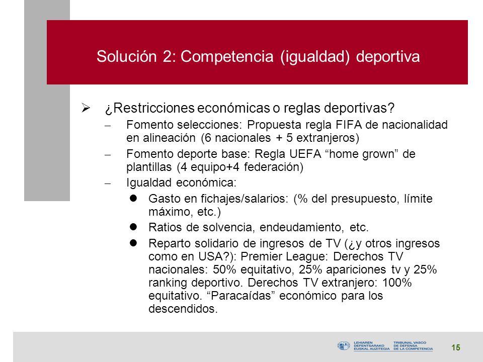 15 Solución 2: Competencia (igualdad) deportiva ¿Restricciones económicas o reglas deportivas.