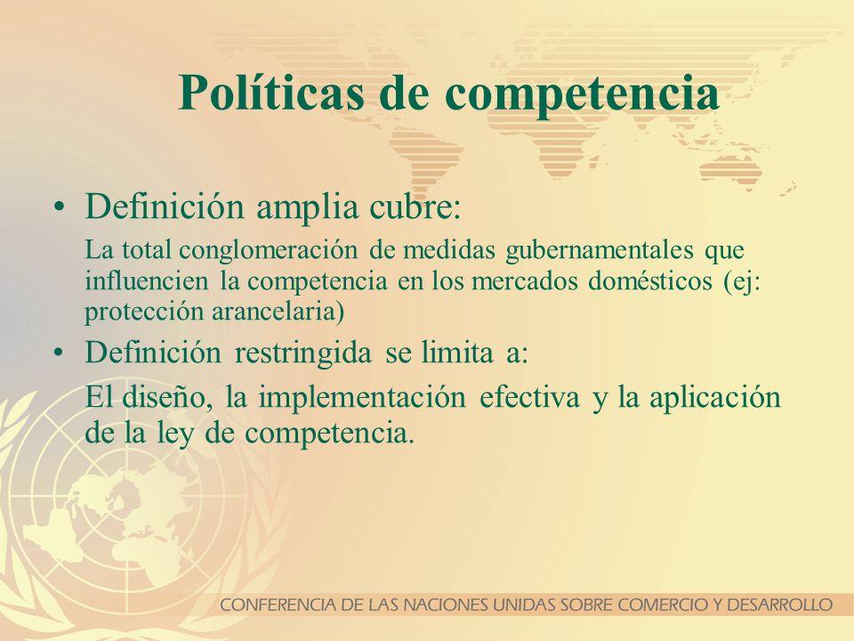 Políticas de competencia Definición amplia cubre: La total conglomeración de medidas gubernamentales que influencien la competencia en los mercados do
