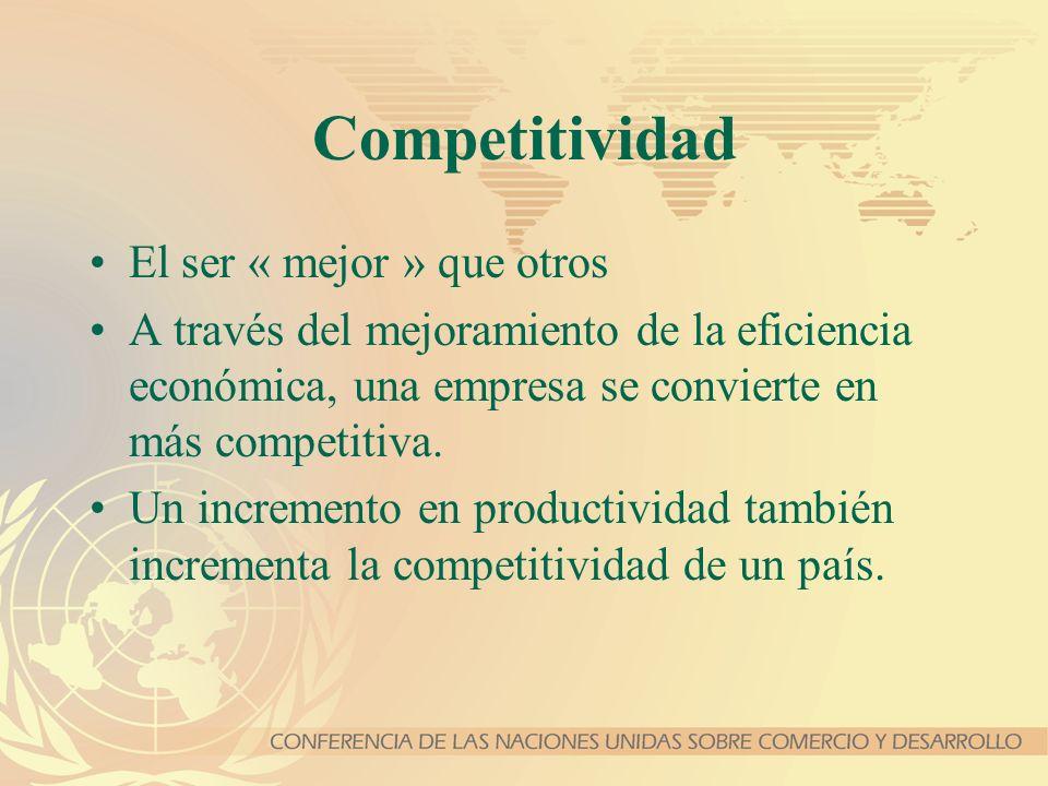 Competitividad El ser « mejor » que otros A través del mejoramiento de la eficiencia económica, una empresa se convierte en más competitiva. Un increm