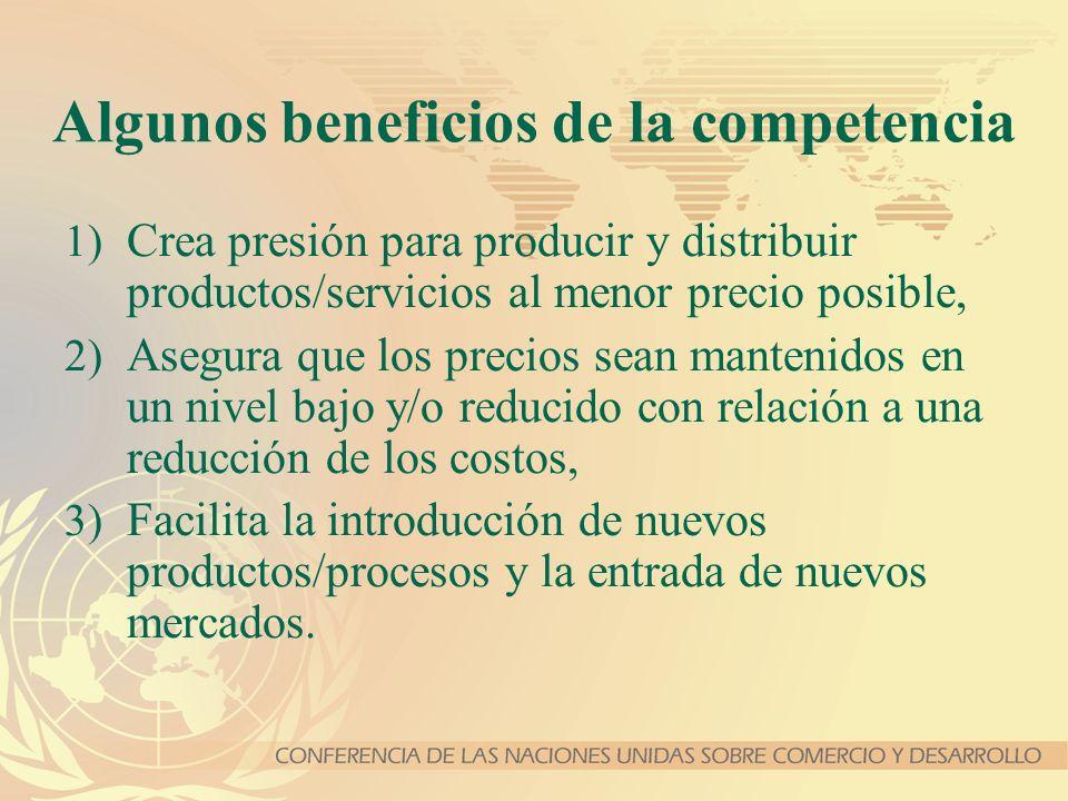 Algunos beneficios de la competencia 1) Crea presión para producir y distribuir productos/servicios al menor precio posible, 2) Asegura que los precio