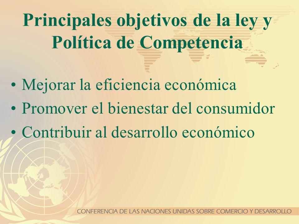 Principales objetivos de la ley y Política de Competencia Mejorar la eficiencia económica Promover el bienestar del consumidor Contribuir al desarroll