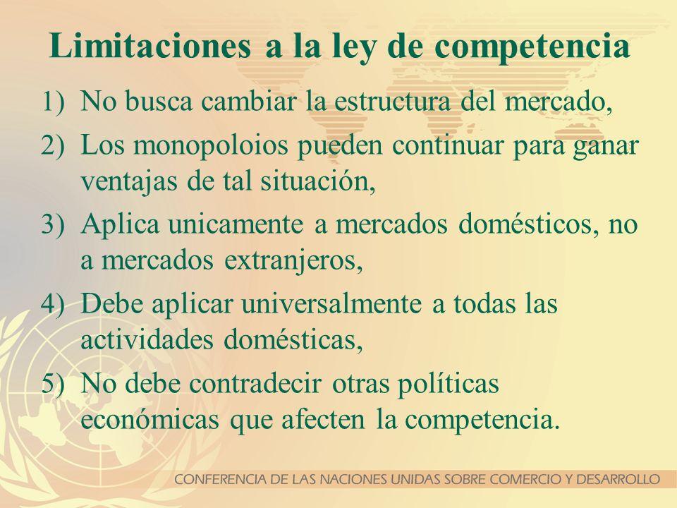 Limitaciones a la ley de competencia 1) No busca cambiar la estructura del mercado, 2) Los monopoloios pueden continuar para ganar ventajas de tal sit