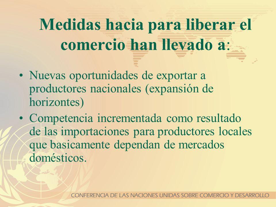 Medidas hacia para liberar el comercio han llevado a: Nuevas oportunidades de exportar a productores nacionales (expansión de horizontes) Competencia