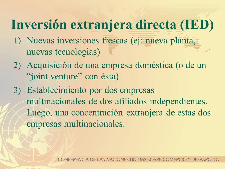 Inversión extranjera directa (IED) 1) Nuevas inversiones frescas (ej: nueva planta, nuevas tecnologias) 2) Acquisición de una empresa doméstica (o de