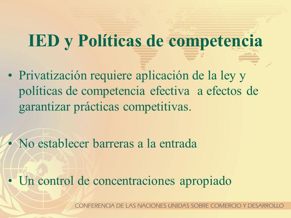 IED y Políticas de competencia Privatización requiere aplicación de la ley y políticas de competencia efectiva a efectos de garantizar prácticas compe