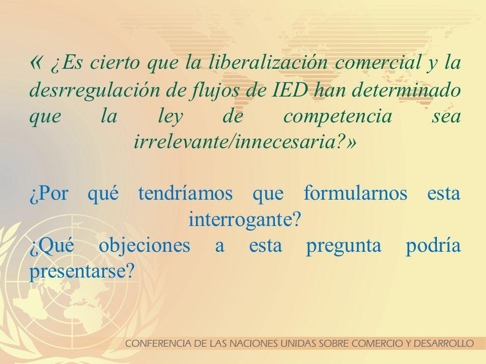 « ¿Es cierto que la liberalización comercial y la desrregulación de flujos de IED han determinado que la ley de competencia sea irrelevante/innecesari