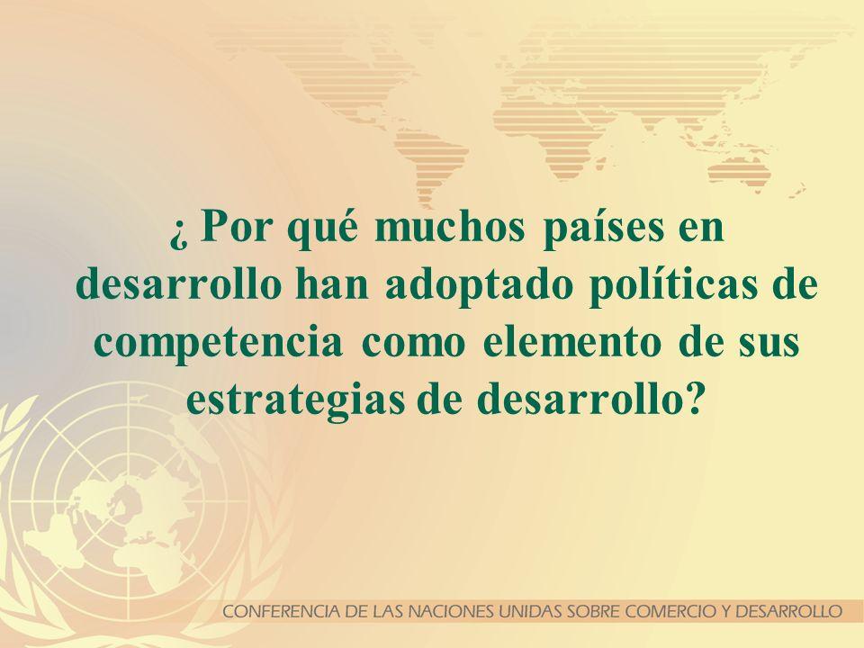 ¿ Por qué muchos países en desarrollo han adoptado políticas de competencia como elemento de sus estrategias de desarrollo?