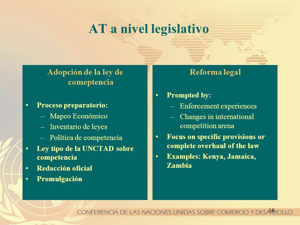 38 AT a nivel legislativo Adopción de la ley de comeptencia Proceso preparatorio: –Mapeo Económico –Inventario de leyes –Política de competencia Ley t