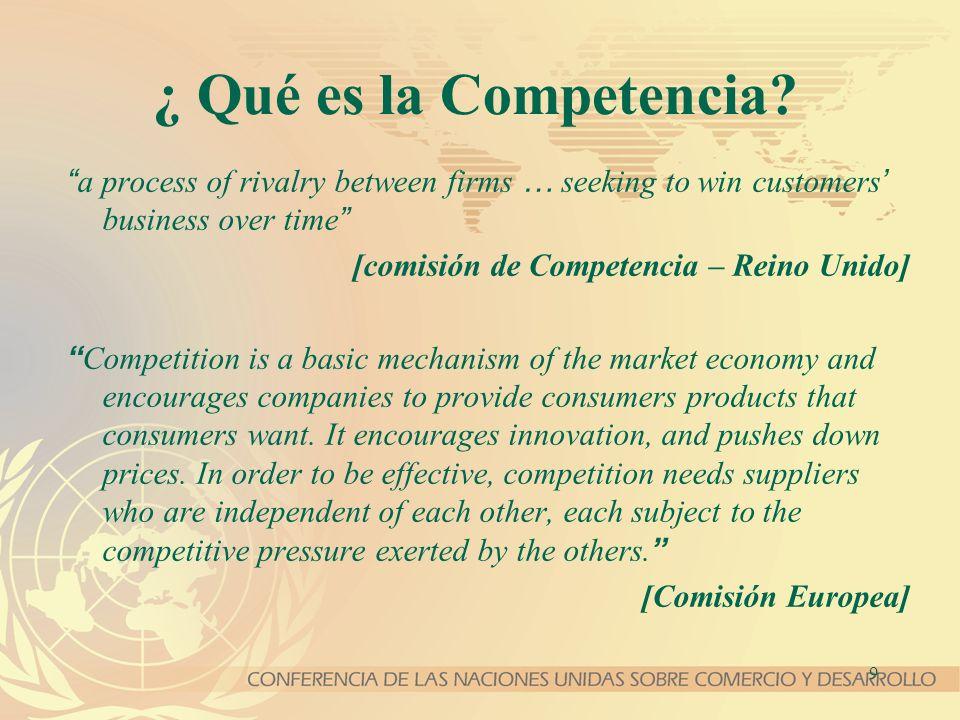 9 ¿ Qué es la Competencia? a process of rivalry between firms … seeking to win customers business over time [comisión de Competencia – Reino Unido] Co