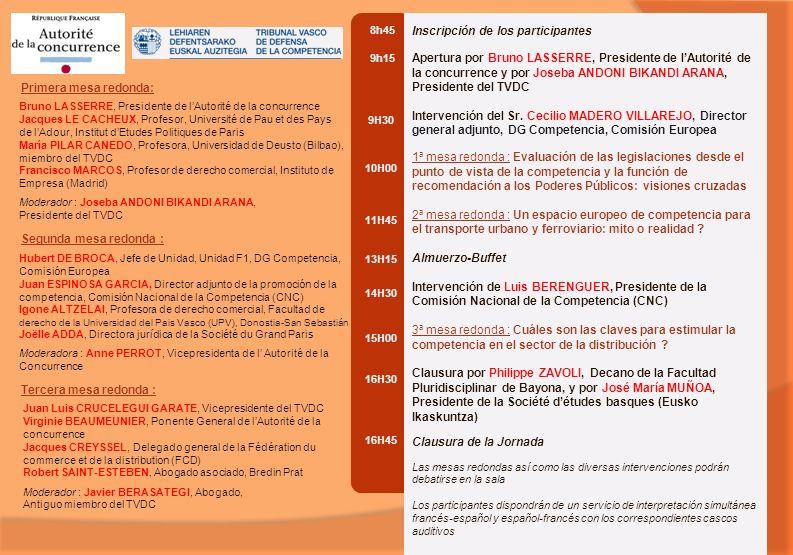 8h45 9h15 9H30 10H00 11H45 13H15 14H30 15H00 16H30 16H45 Inscripción de los participantes Apertura por Bruno LASSERRE, Presidente de lAutorité de la concurrence y por Joseba ANDONI BIKANDI ARANA, Presidente del TVDC Intervención del Sr.