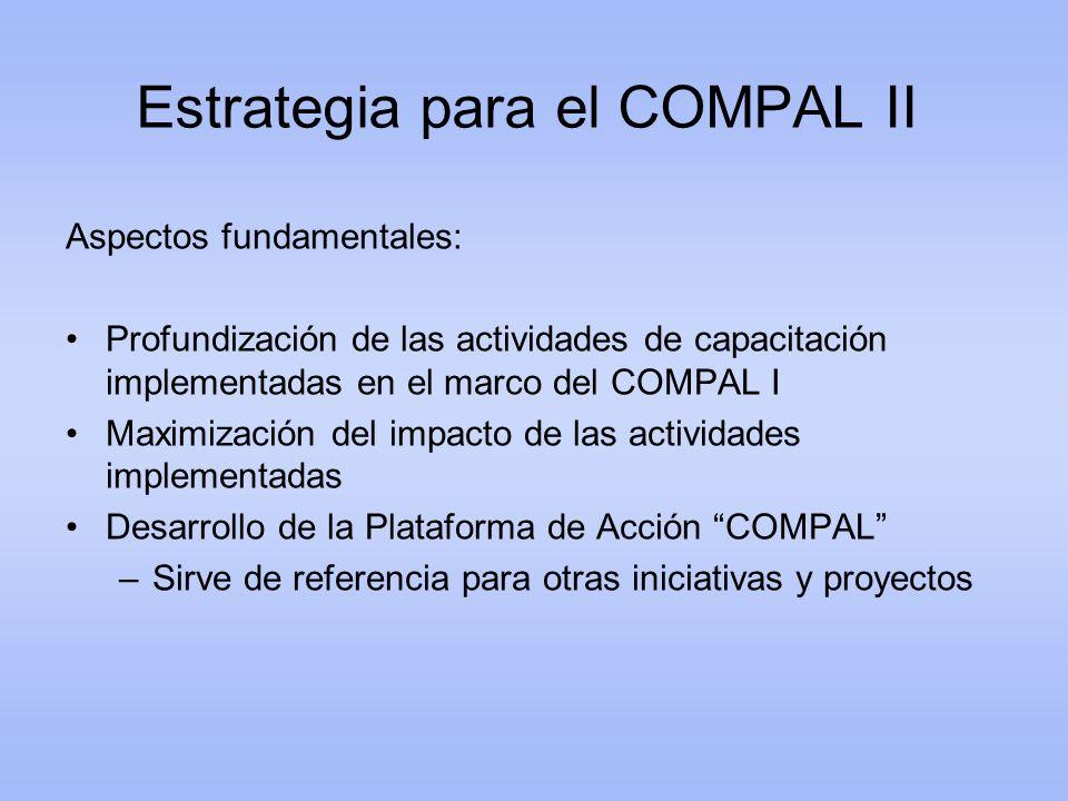 Estrategia para el COMPAL II Aspectos fundamentales: Profundización de las actividades de capacitación implementadas en el marco del COMPAL I Maximiza