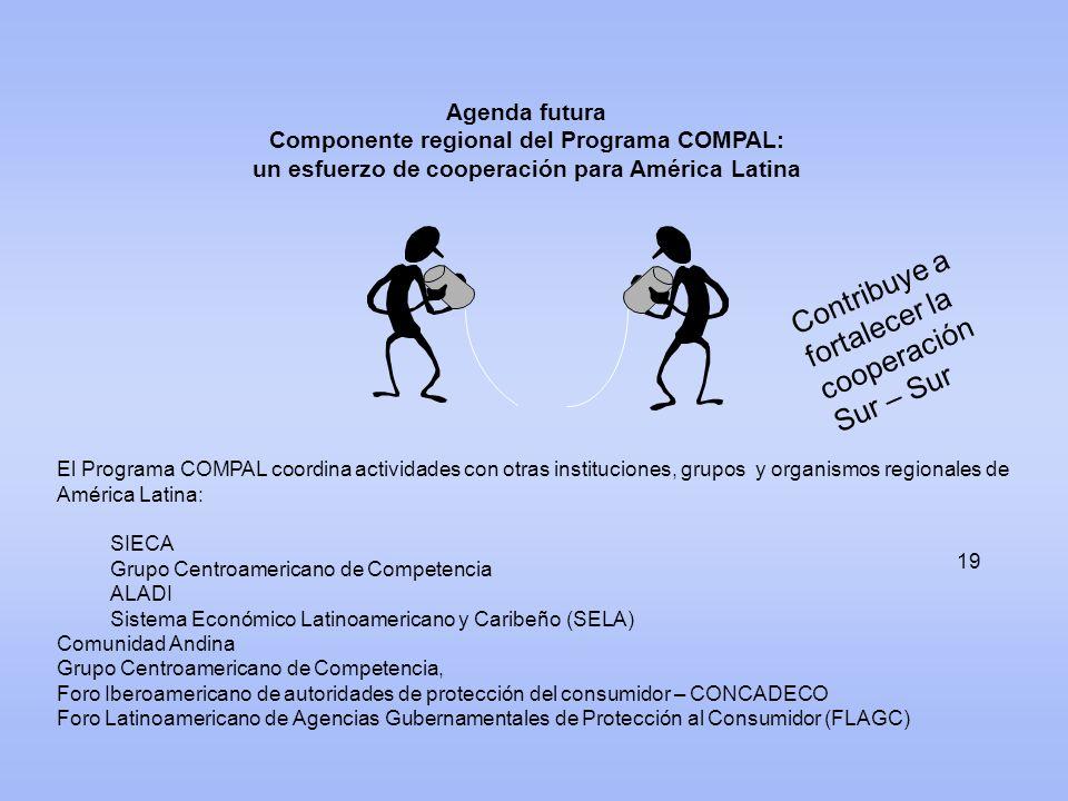 19 Agenda futura Componente regional del Programa COMPAL: un esfuerzo de cooperación para América Latina El Programa COMPAL coordina actividades con o
