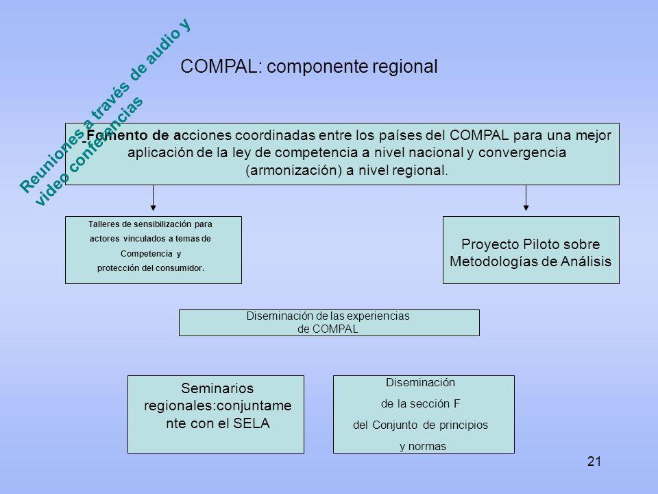 21 Fomento de acciones coordinadas entre los países del COMPAL para una mejor aplicación de la ley de competencia a nivel nacional y convergencia (arm