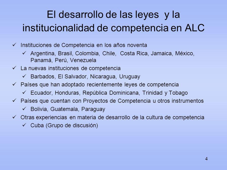 El desarrollo de las leyes y la institucionalidad de competencia en ALC Instituciones de Competencia en los años noventa Argentina, Brasil, Colombia,