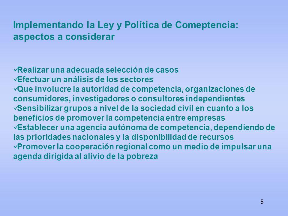 5 Implementando la Ley y Política de Comeptencia: aspectos a considerar Realizar una adecuada selección de casos Efectuar un análisis de los sectores