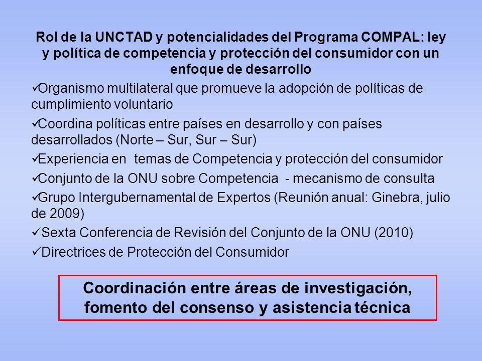 Rol de la UNCTAD y potencialidades del Programa COMPAL: ley y política de competencia y protección del consumidor con un enfoque de desarrollo Organis
