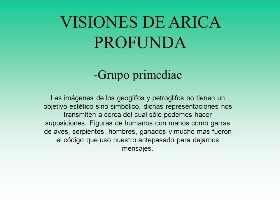 VISIONES DE ARICA PROFUNDA -Grupo primediae Las imágenes de los geoglifos y petroglifos no tienen un objetivo estético sino simbólico, dichas represen