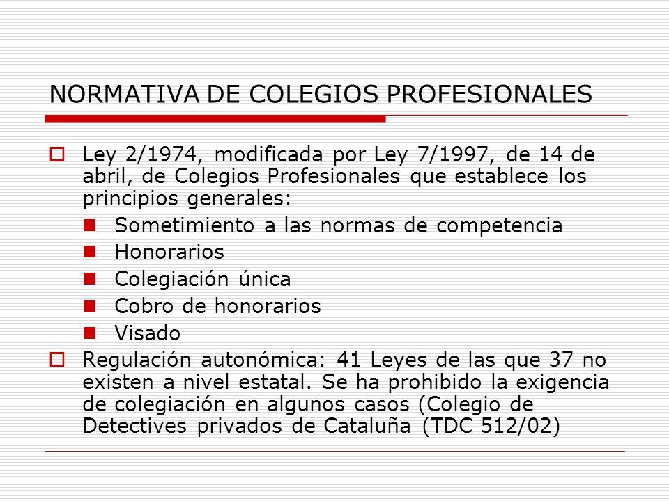 NORMATIVA DE COLEGIOS PROFESIONALES Ley 2/1974, modificada por Ley 7/1997, de 14 de abril, de Colegios Profesionales que establece los principios gene