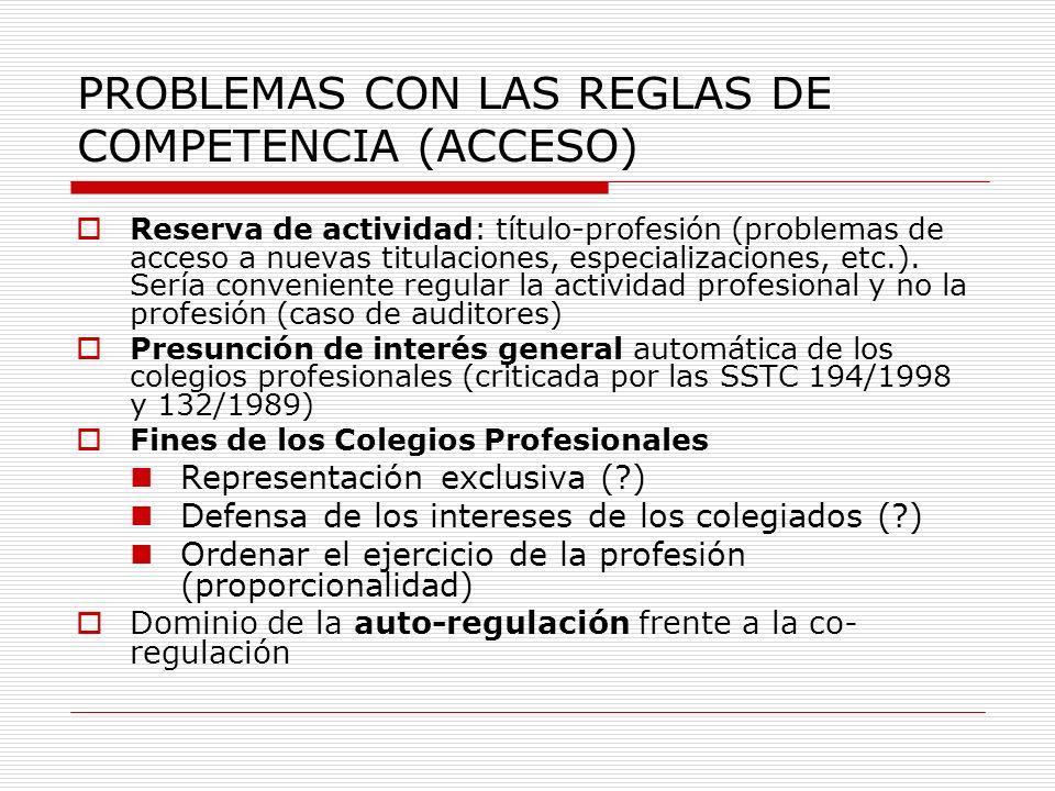 PROBLEMAS CON LAS REGLAS DE COMPETENCIA (ACCESO) Reserva de actividad: título-profesión (problemas de acceso a nuevas titulaciones, especializaciones,