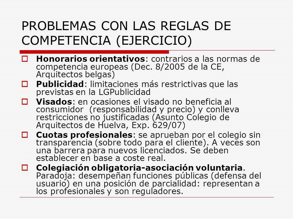 PROBLEMAS CON LAS REGLAS DE COMPETENCIA (EJERCICIO) Honorarios orientativos: contrarios a las normas de competencia europeas (Dec. 8/2005 de la CE, Ar