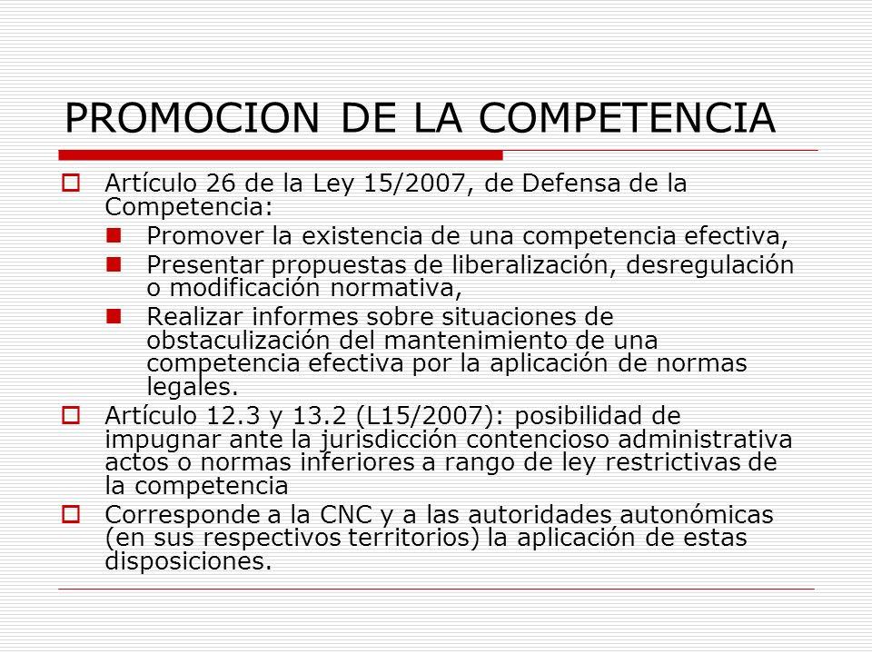 PROMOCION DE LA COMPETENCIA Artículo 26 de la Ley 15/2007, de Defensa de la Competencia: Promover la existencia de una competencia efectiva, Presentar