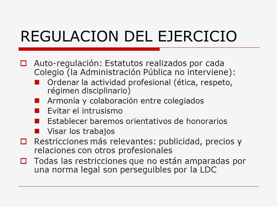 REGULACION DEL EJERCICIO Auto-regulación: Estatutos realizados por cada Colegio (la Administración Pública no interviene): Ordenar la actividad profes