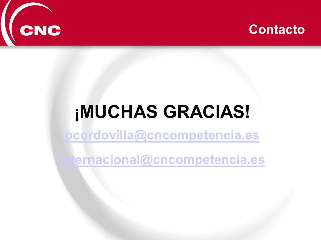 Contacto ¡MUCHAS GRACIAS! pcordovilla@cncompetencia.es internacional@cncompetencia.es