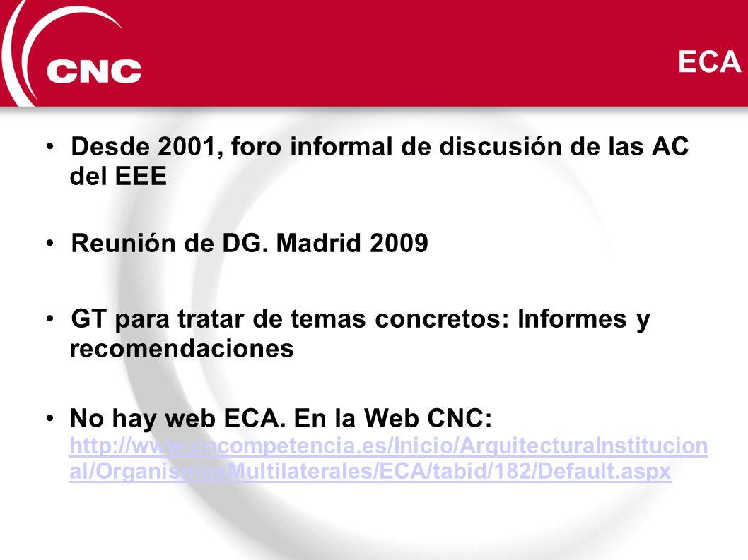 ECA Desde 2001, foro informal de discusión de las AC del EEE Reunión de DG. Madrid 2009 GT para tratar de temas concretos: Informes y recomendaciones
