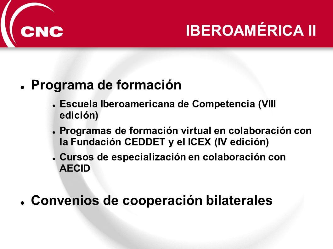 IBEROAMÉRICA II Programa de formación Escuela Iberoamericana de Competencia (VIII edición) Programas de formación virtual en colaboración con la Funda