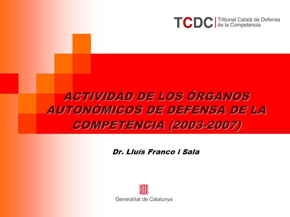 ACTIVIDAD DE LOS ÓRGANOS AUTONÓMICOS DE DEFENSA DE LA COMPETENCIA (2003-2007) ACTIVIDAD DE LOS ÓRGANOS AUTONÓMICOS DE DEFENSA DE LA COMPETENCIA (2003-2007) Dr.