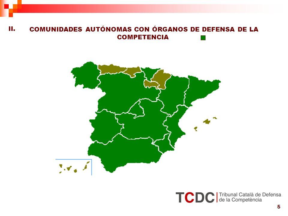5 COMUNIDADES AUTÓNOMAS CON ÓRGANOS DE DEFENSA DE LA COMPETENCIA II.