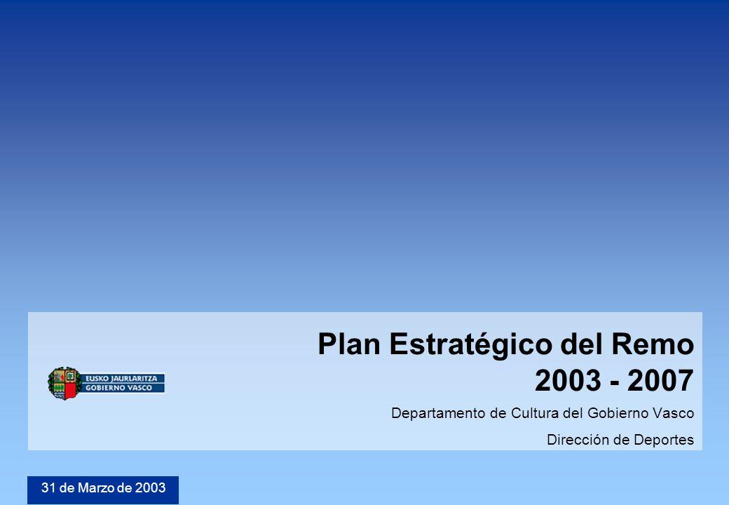 © 2002 KPMG Consulting Spain Plan Estratégico del Remo 2003 - 2007 Departamento de Cultura del Gobierno Vasco Dirección de Deportes 31 de Marzo de 2003