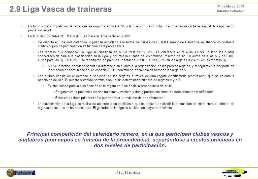 23 de 52 páginas 31 de Marzo 2003 Informe Definitivo 2.8 Diputaciones Forales y Gobierno Vasco Ayudas económicas de las instituciones públicas al remo