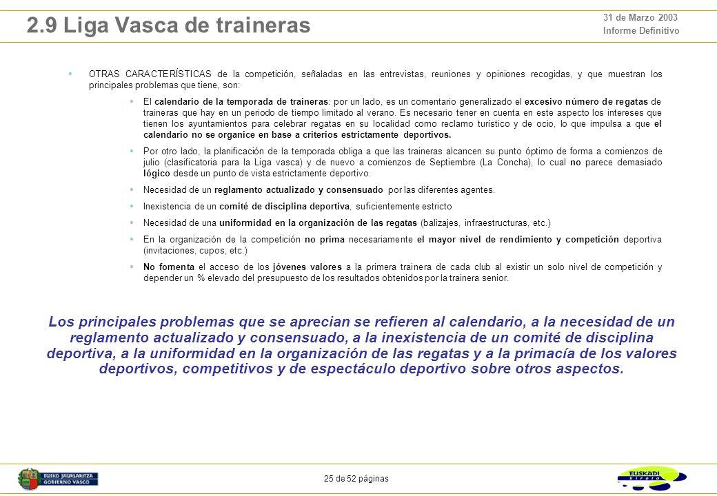 24 de 52 páginas 31 de Marzo 2003 Informe Definitivo 2.9 Liga Vasca de traineras Es la principal competición de remo que se organiza en la CAPV, y la que, con La Concha, mayor repercusión tiene a nivel de seguimiento por la sociedad.