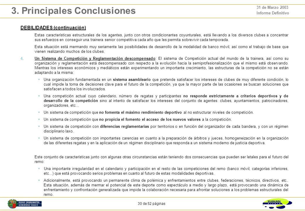 29 de 52 páginas 31 de Marzo 2003 Informe Definitivo 3. Principales Conclusiones DEBILIDADES 1.Infraestructuras y Material Deportivo: Las necesidades