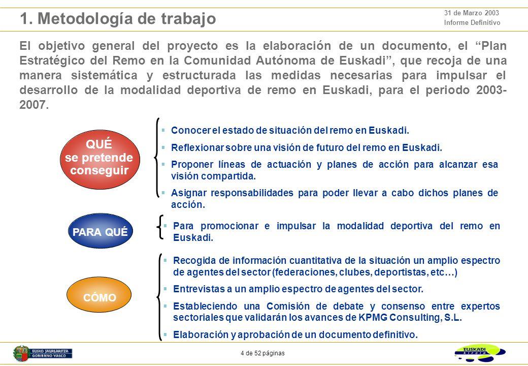 44 de 52 páginas 31 de Marzo 2003 Informe Definitivo Capacitación: Favorecer el desarrollo de la capacidad de gestión, organización y competición de todos los agentes que deberán apoyar la adaptación del remo a sus condicionantes actuales y futuros.