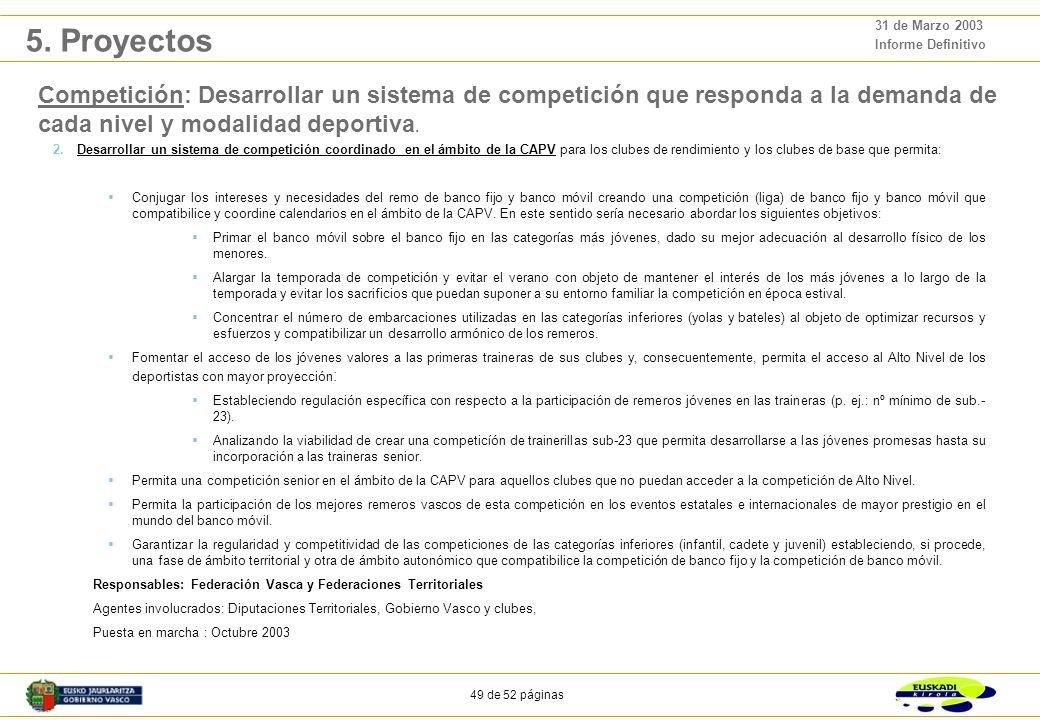 48 de 52 páginas 31 de Marzo 2003 Informe Definitivo Competición: Desarrollar un sistema de competición que responda a la demanda de cada nivel y modalidad deportiva.