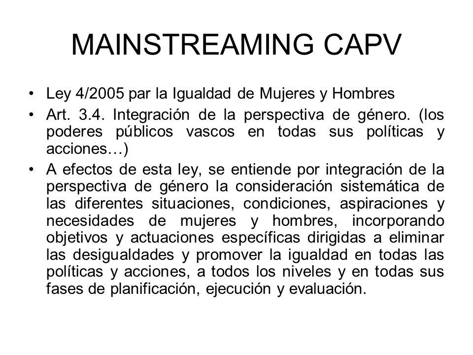 MAINSTREAMING CAPV Ley 4/2005 par la Igualdad de Mujeres y Hombres Art.