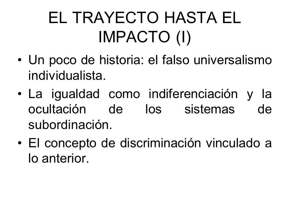 EL TRAYECTO HASTA EL IMPACTO (II) La irrupción del Derecho antidiscriminatorio Discriminación directa e indirecta Acción afirmativa (positiva) Los límites de los conceptos anteriores (igualdad de trato e igualdad de oportunidades).