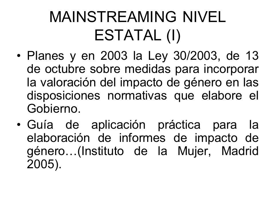 MAINSTREAMING NIVEL ESTATAL (II) LO 3/2007 para la igualdad efectiva… Art.