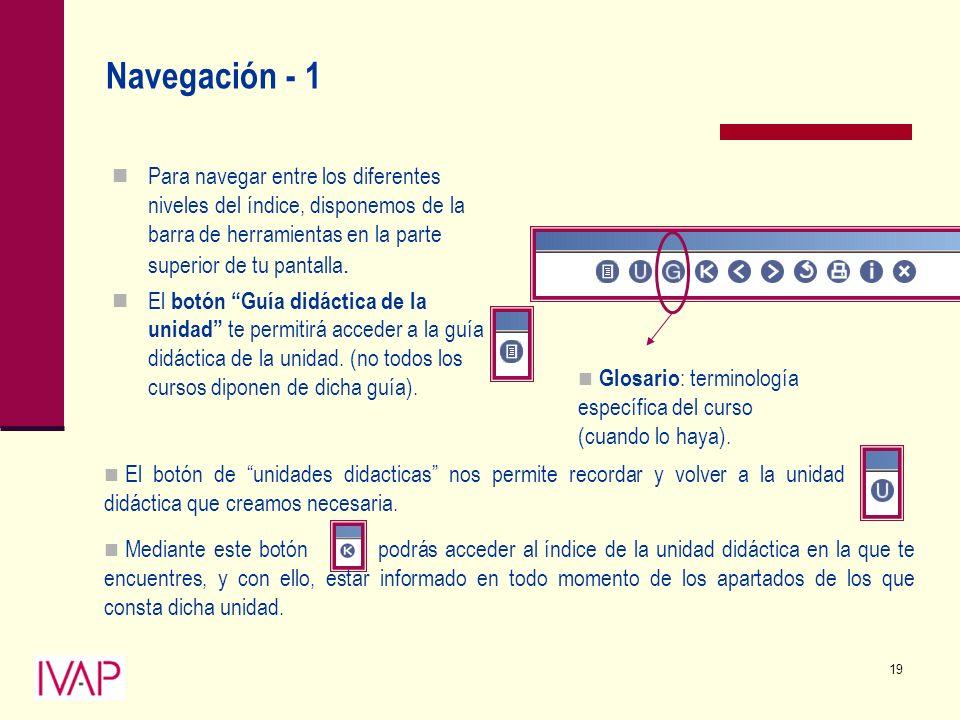 19 Navegación - 1 Para navegar entre los diferentes niveles del índice, disponemos de la barra de herramientas en la parte superior de tu pantalla.