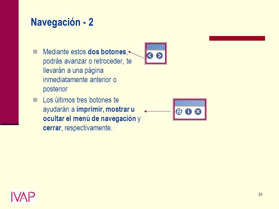 20 Navegación - 2 Mediante estos dos botones, podrás avanzar o retroceder, te llevarán a una página inmediatamente anterior o posterior Los últimos tres botones te ayudarán a imprimir, mostrar u ocultar el menú de navegación y cerrar, respectivamente.